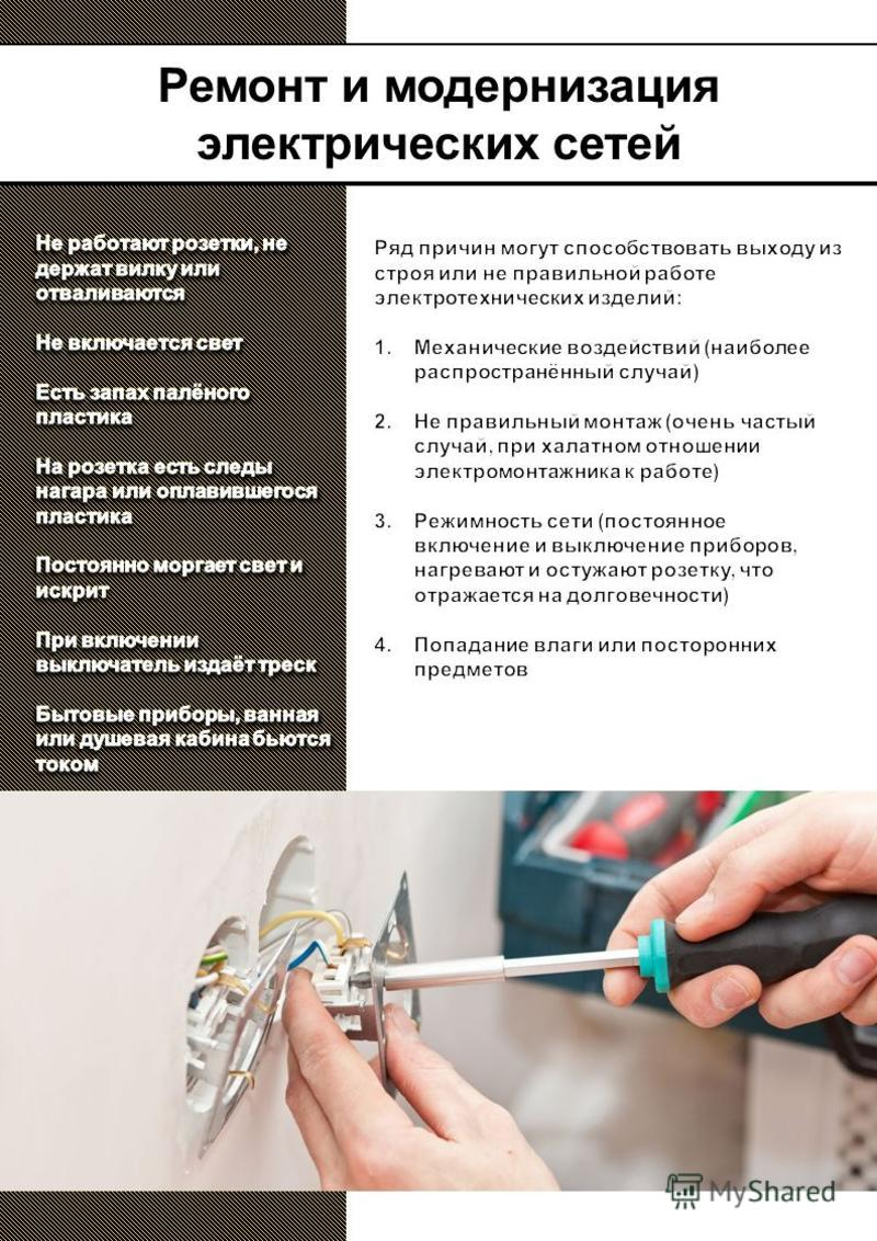 Тел.: E-mail: Сайт: Ремонт и модернизация электрических сетей