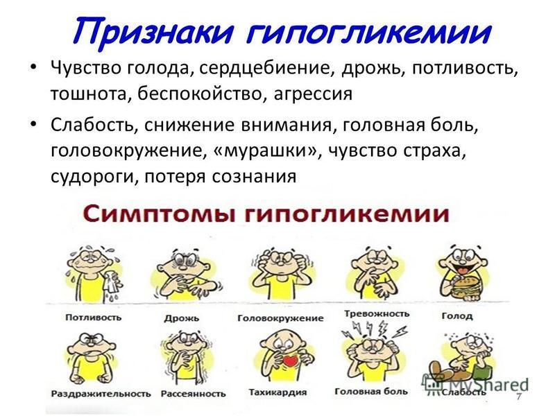 7 Признаки гипогликемии Чувство голода, сердцебиение, дрожь, потливость, тошнота, беспокойство, агрессия Слабость, снижение внимания, головная боль, головокружение, «мурашки», чувство страха, судороги, потеря сознания 7
