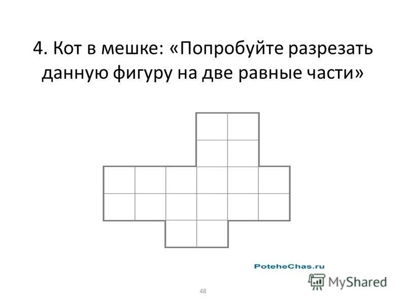 4. Кот в мешке: «Попробуйте разрезать данную фигуру на две равные части» 48