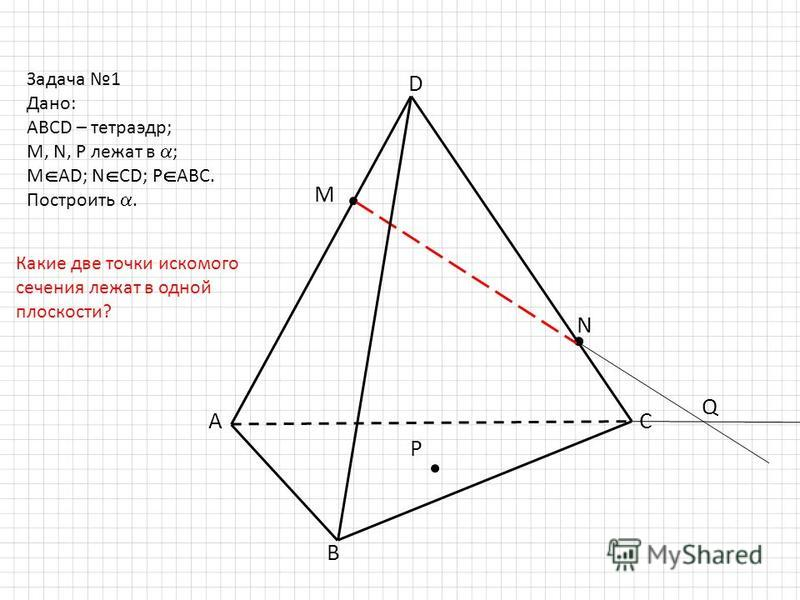 D B AC M N P Задача 1 Дано: ABCD – тетраэдр; M, N, P лежат в ; M AD; N CD; P ABC. Построить. Q Какие две точки искомого сечения лежат в одной плоскости?