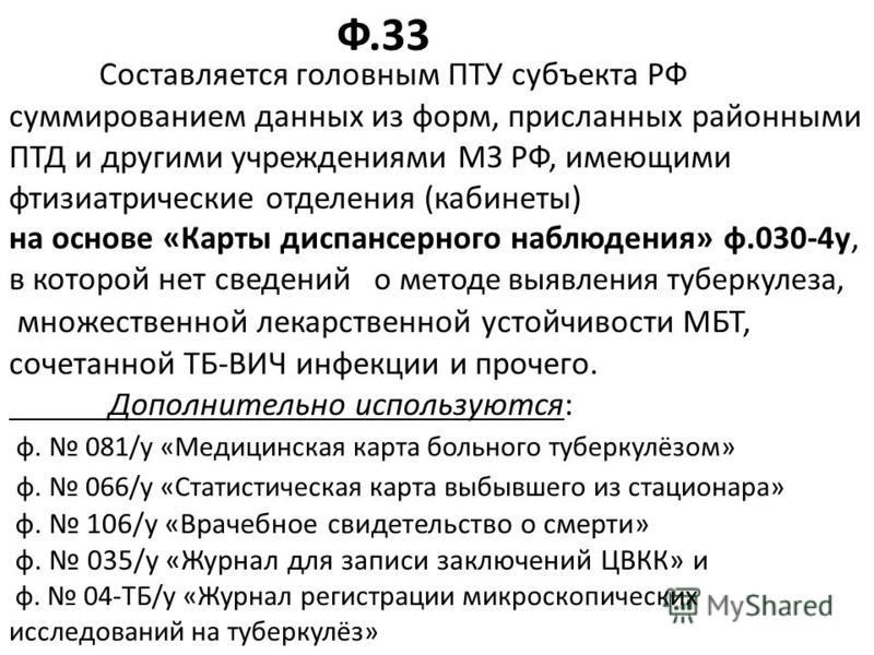 Составляется головным ПТУ субъекта РФ суммированием данных из форм, присланных районными ПТД и другими учреждениями МЗ РФ, имеющими фтизиатрические отделения (кабинеты) на основе «Карты диспансерного наблюдения» ф.030-4 у, в которой нет сведений о ме