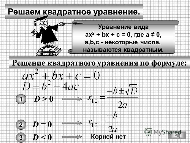 Решаем квадратное уравнение. Решение квадратного уравнения по формуле: Уравнение вида ах 2 + bх + с = 0, где а 0, а,b,с - некоторые числа, называются квадратным. D > 0D > 0 1 D = 0D = 0 2 D < 0D < 0 3 Корней нет