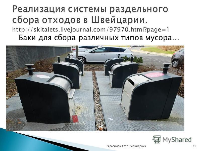 Баки для сбора различных типов мусора… Герасимов Егор Леонидович 21