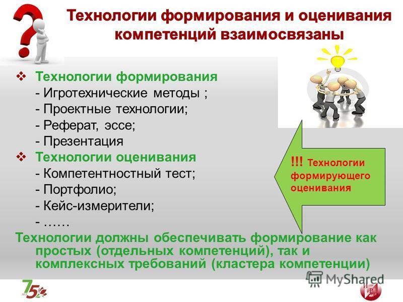 Технологии формирования - Игротехнические методы ; - Проектные технологии; - Реферат, эссе; - Презентация Технологии оценивания - Компетентностный тест; - Портфолио; - Кейс-измерители; - …… Технологии должны обеспечивать формирование как простых (отд