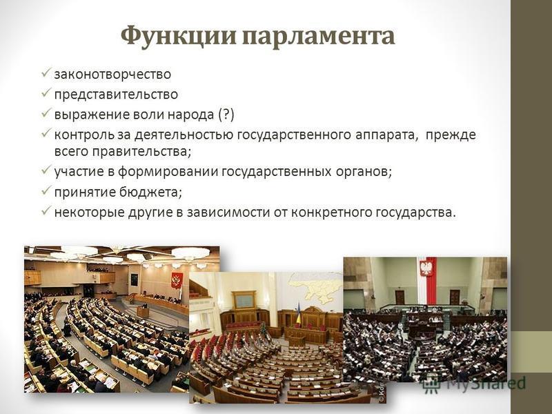 Функции парламента законотворчество представительство выражение воли народа (?) контроль за деятельностью государственного аппарата, прежде всего правительства; участие в формировании государственных органов; принятие бюджета; некоторые другие в зави