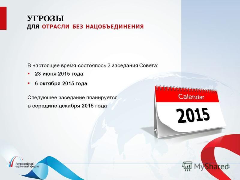 2 В настоящее время состоялось 2 заседания Совета: 23 июня 2015 года 6 октября 2015 года Следующее заседание планируется в середине декабря 2015 года