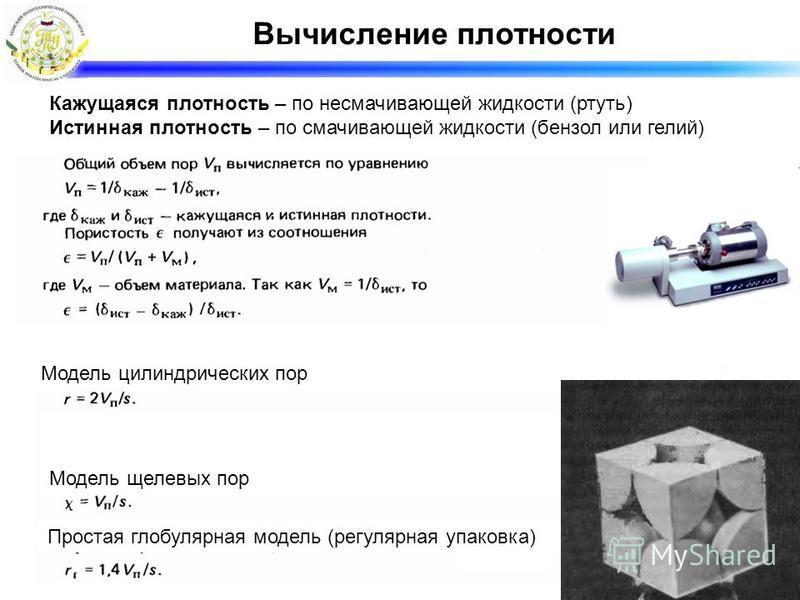 Модель цилиндрических пор Модель щелевых пор Простая глобулярная модель (регулярная упаковка) Кажущаяся плотность – по несмачивающей жидкости (ртуть) Истинная плотность – по смачивающей жидкости (бензол или гелий) Вычисление плотности