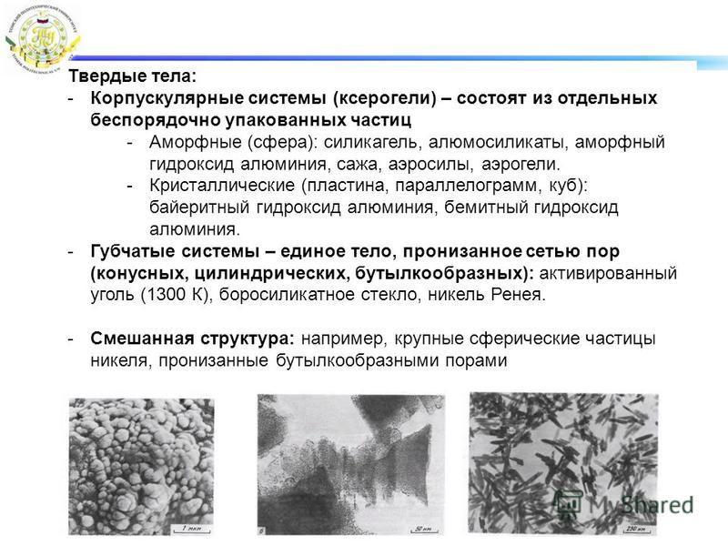 Твердые тела: -Корпускулярные системы (ксерогели) – состоят из отдельных беспорядочно упакованных частиц -Аморфные (сфера): силикагель, алюмосиликаты, аморфный гидроксид алюминия, сажа, аэросилы, аэрогели. -Кристаллические (пластина, параллелограмм,