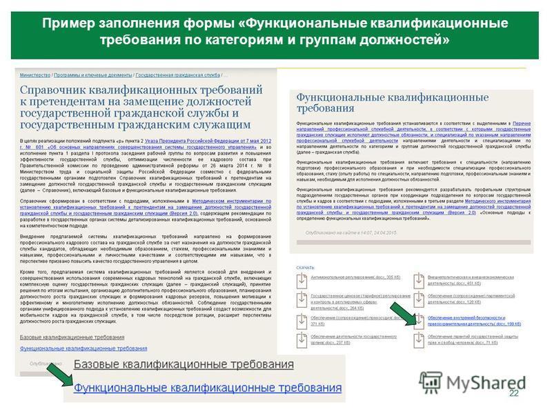 22 Пример заполнения формы «Функциональные квалификационные требования по категориям и группам должностей»