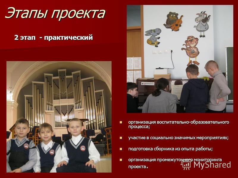 Этапы проекта 2 этап - практический организация воспитательно-образовательного процесса; организация воспитательно-образовательного процесса; участие в социально значимых мероприятиях; участие в социально значимых мероприятиях; подготовка сборника из