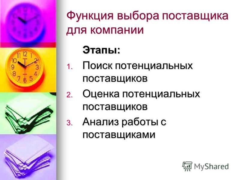 Функция выбора поставщика для компании Этапы: 1. Поиск потенциальных поставщиков 2. Оценка потенциальных поставщиков 3. Анализ работы с поставщиками