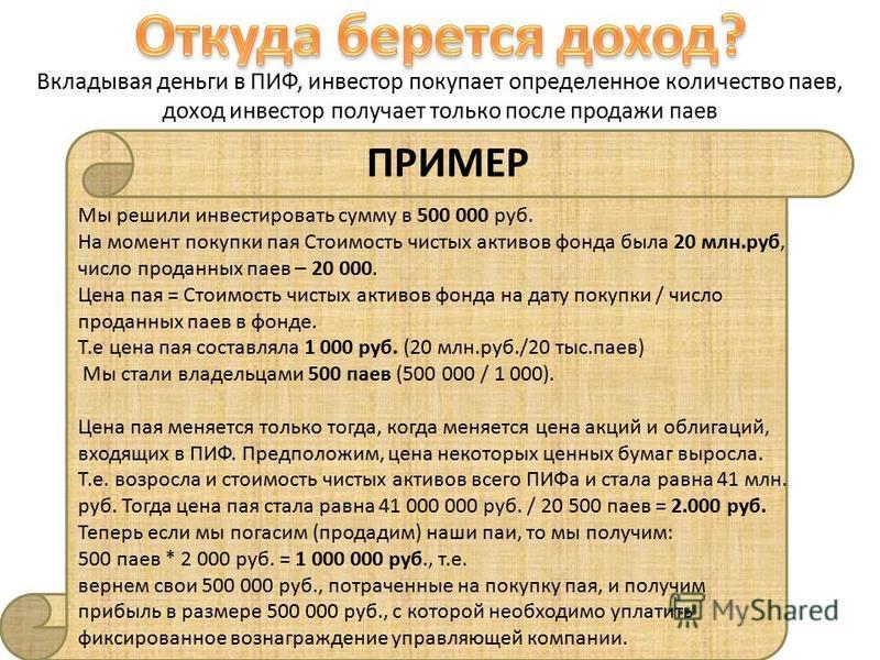 Вкладывая деньги в ПИФ, инвестор покупает определенное количество паев, доход инвестор получает только после продажи паев Мы решили инвестировать сумму в 500 000 руб. На момент покупки пая Стоимость чистых активов фонда была 20 млн.руб, число проданн