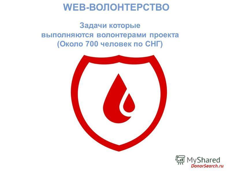 WEB-ВОЛОНТЕРСТВО Задачи которые выполняются волонтерами проекта (Около 700 человек по СНГ) DonorSearch.ru
