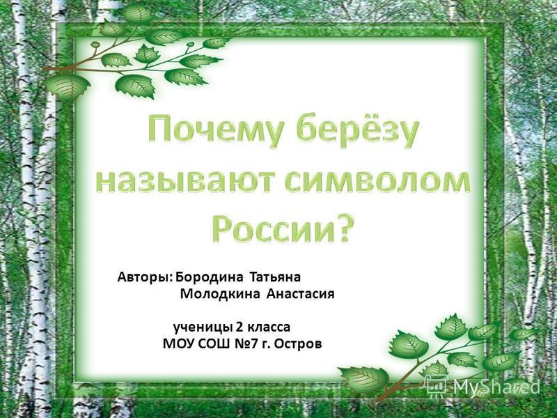Авторы: Бородина Татьяна Молодкина Анастасия ученицы 2 класса МОУ СОШ 7 г. Остров