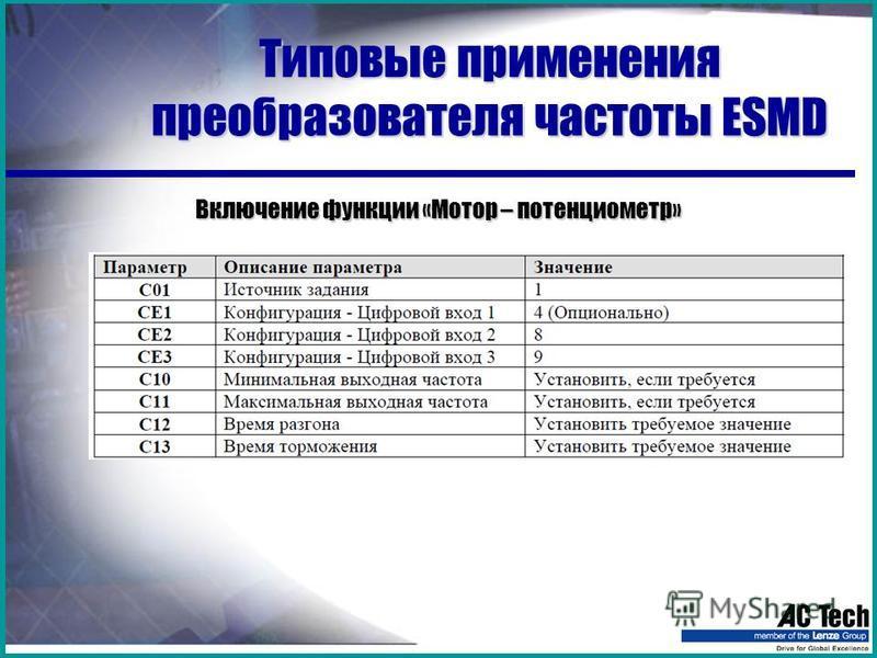 Типовые применения преобразователя частоты ESMD Включение функции «Мотор – потенциометр»