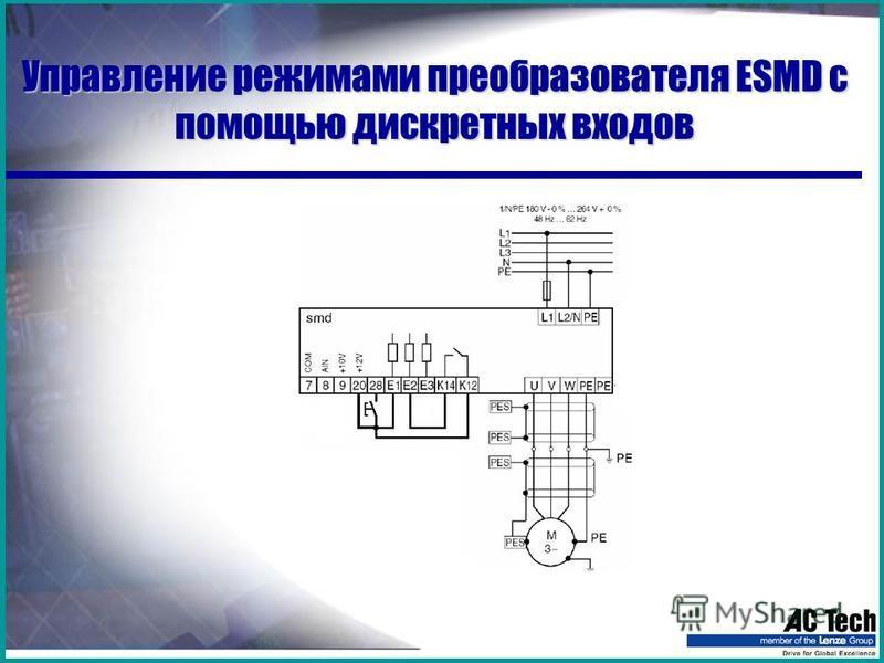 Управление режимами преобразователя ESMD с помощью дискретных входов