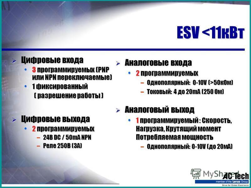 ESV <11 к Вт Цифровые входа Цифровые входа 3 программируемых (PNP или NPN переключаемые)3 программируемых (PNP или NPN переключаемые) 1 фиксированный 1 фиксированный ( разрешение работы ) ( разрешение работы ) Цифровые выхода Цифровые выхода 2 програ
