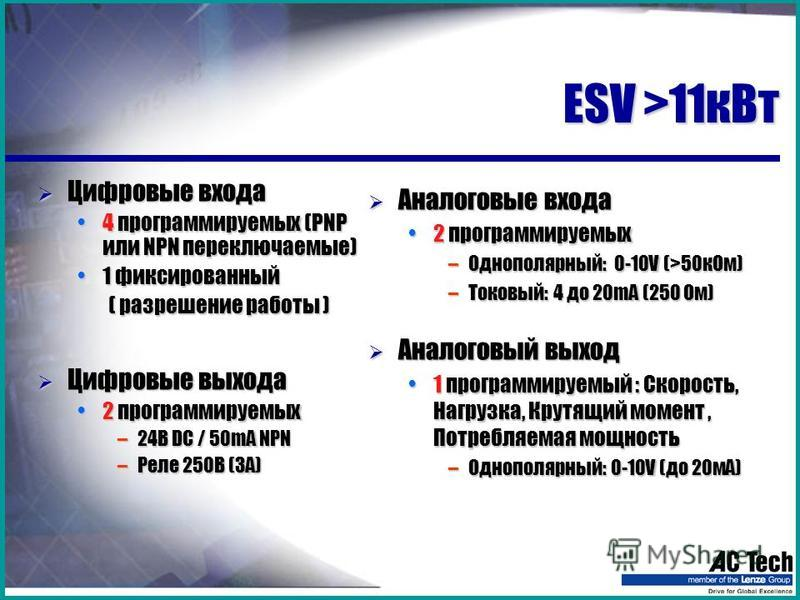 ESV >11 к Вт Цифровые входа Цифровые входа 4 программируемых (PNP или NPN переключаемые)4 программируемых (PNP или NPN переключаемые) 1 фиксированный 1 фиксированный ( разрешение работы ) ( разрешение работы ) Цифровые выхода Цифровые выхода 2 програ