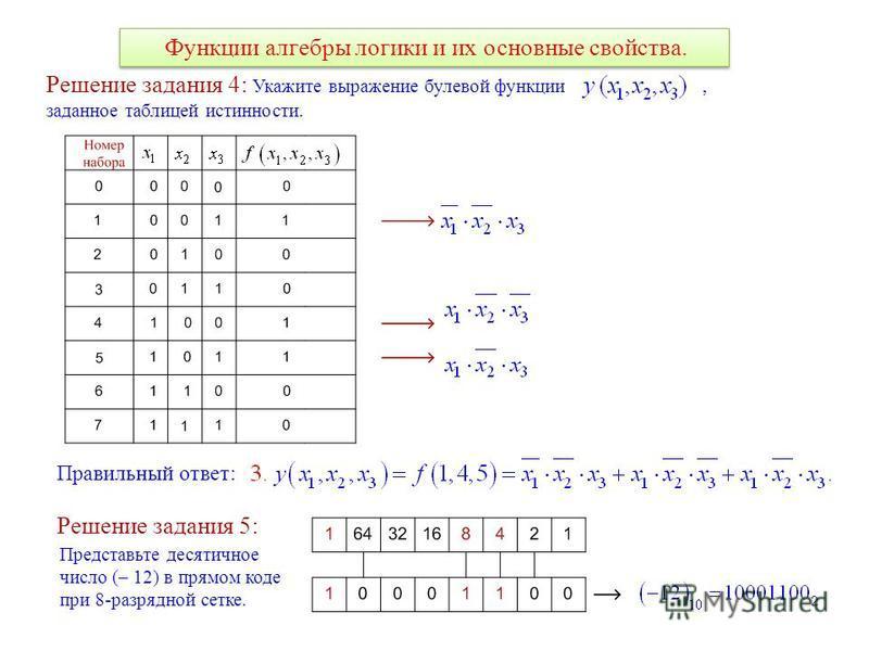 Функции алгебры логики и их основные свойства. Решение задания 4: Укажите выражение булевой функции, заданное таблицей истинности. Правильный ответ: Решение задания 5: Представьте десятичное число (– 12) в прямом коде при 8-разрядной сетке.