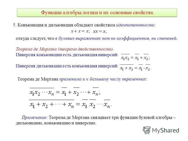 Функции алгебры логики и их основные свойства. 5. Конъюнкция и дизъюнкция обладают свойством идемпотентности: откуда следует, что в булевых выражениях нет ни коэффициентов, ни степеней. Теорема де Моргана (теорема двойственности). Инверсия конъюнкции