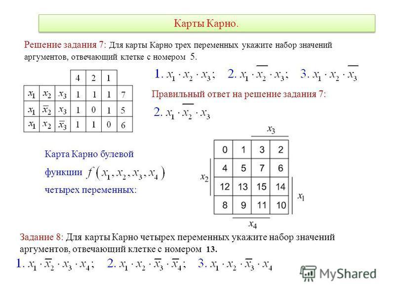 Карты Карно. Карта Карно булевой функции четырех переменных: Решение задания 7: Для карты Карно трех переменных укажите набор значений аргументов, отвечающий клетке с номером 5. Правильный ответ на решение задания 7: Задание 8: Для карты Карно четыре