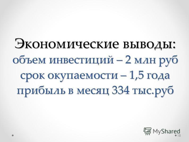 Экономические выводы: объем инвестиций – 2 млн руб срок окупаемости – 1,5 года прибыль в месяц 334 тыс.руб 18
