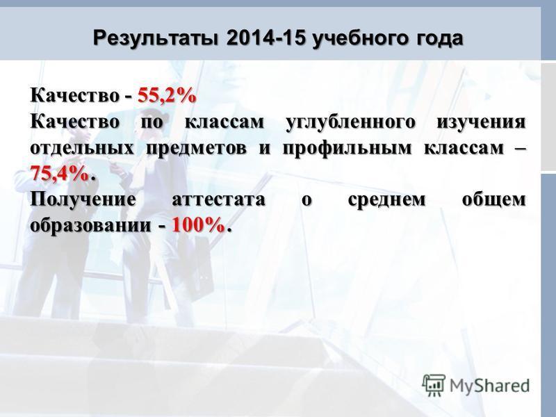 Результаты 2014-15 учебного года Качество - 55,2% Качество по классам углубленного изучения отдельных предметов и профилььным классам – 75,4%. Получение аттестата о среднем общем образовании - 100%.