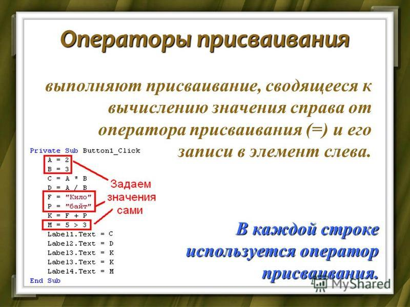 Операторы присваивания выполняют присваивание, сводящееся к вычислению значения справа от оператора присваивания (=) и его записи в элемент слева. В каждой строке используется оператор присваивания.