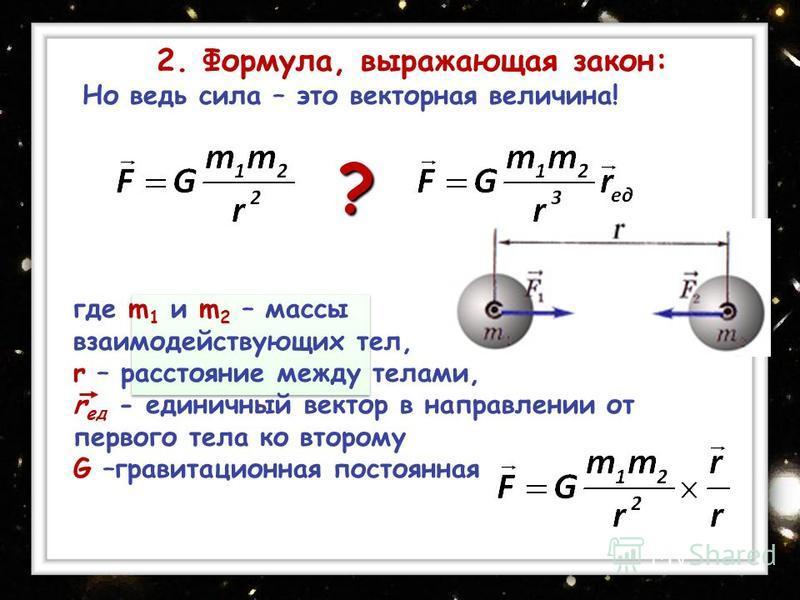 Но ведь сила – это векторная величина! ? где m 1 и m 2 – массы взаимодействующих тел, r – расстояние между телами, r ед - единичный вектор в направлении от первого тела ко второму G –гравитационная постоянная