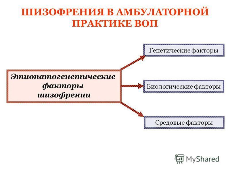Этиопатогенетические факторы шизофрении Генетические факторы Биологические факторы Средовые факторы ШИЗОФРЕНИЯ В АМБУЛАТОРНОЙ ПРАКТИКЕ ВОП