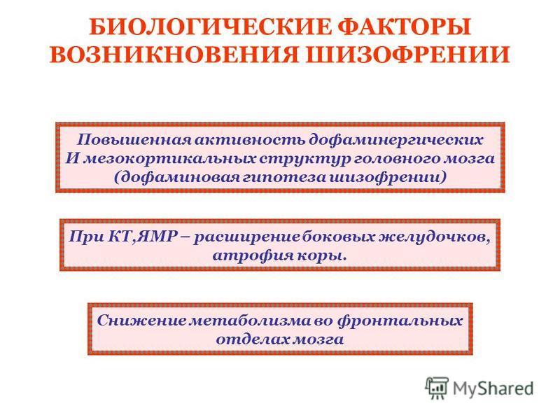 БИОЛОГИЧЕСКИЕ ФАКТОРЫ ВОЗНИКНОВЕНИЯ ШИЗОФРЕНИИ Повышенная активность дофаминергических И мезо кортикальных структур головного мозга (дофаминовая гипотеза шизофрении) При КТ,ЯМР – расширение боковых желудочков, атрофия коры. Снижение метаболизма во фр