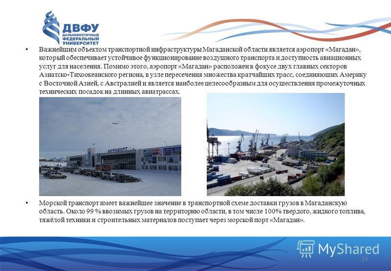 Важнейшим объектом транспортной инфраструктуры Магаданской области является аэропорт «Магадан», который обеспечивает устойчивое функционирование воздушного транспорта и доступность авиационных услуг для населения. Помимо этого, аэропорт «Магадан» рас