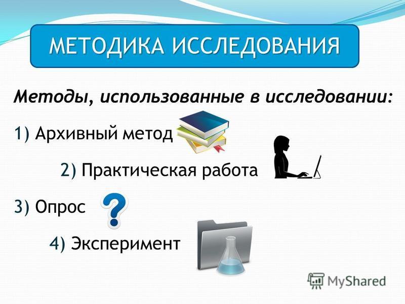 Методы, использованные в исследовании: 1) Архивный метод 2) Практическая работа 3) Опрос 4) Эксперимент МЕТОДИКА ИССЛЕДОВАНИЯ