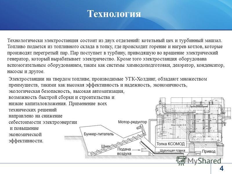 4 Технологически электростанция состоит из двух отделений: котельный цех и турбинный машзал. Топливо подается из топливного склада в топку, где происходит горение и нагрев котлов, которые производят перегретый пар. Пар поступает в турбину, приводящую