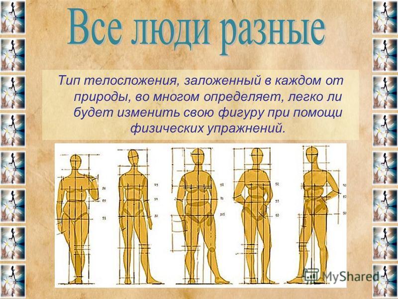 Тип телосложения, заложенный в каждом от природы, во многом определяет, легко ли будет изменить свою фигуру при помощи физических упражнений.