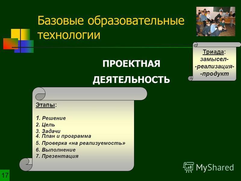 ПРОЕКТНАЯ ДЕЯТЕЛЬНОСТЬ Триада: замысел- -реализация- -продукт Базовые образовательные технологии 1717 Этапы: 1. Решение 2. Цель 3. Задачи 4. План и программа 5. Проверка «на реализуемость » 6. Выполнение 7. Презентация