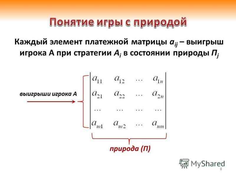 8 Каждый элемент платежной матрицы a ij – выигрыш игрока А при стратегии A i в состоянии природы П j выигрыши игрока А природа (П)