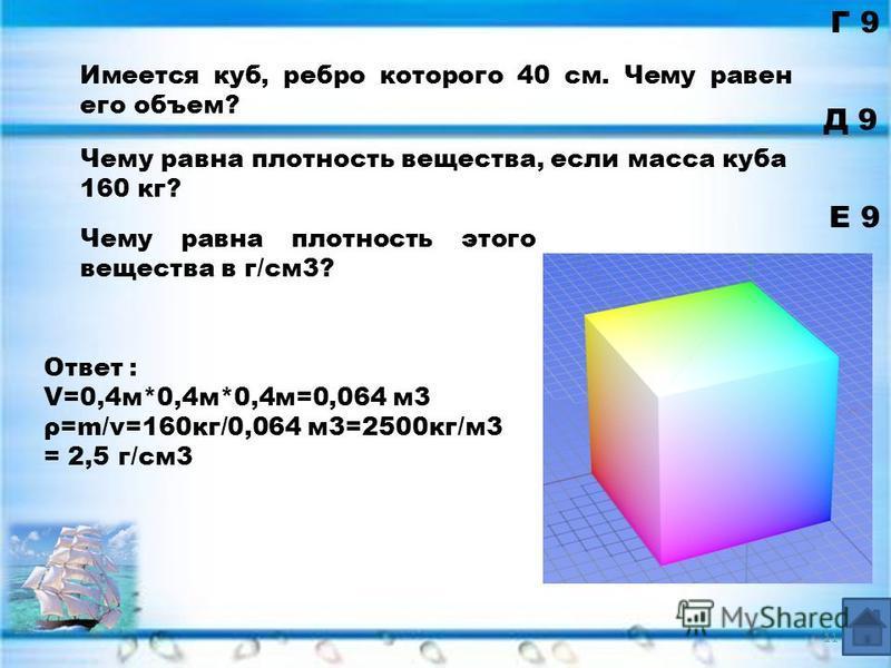 Ответ : V=0,4 м*0,4 м*0,4 м=0,064 м 3 ρ=m/v=160 кг/0,064 м 3=2500 кг/м 3 = 2,5 г/см 3 Г 9 Д 9 Е 9 Имеется куб, ребро которого 40 см. Чему равен его объем? Чему равна плотность вещества, если масса куба 160 кг? Чему равна плотность этого вещества в г/