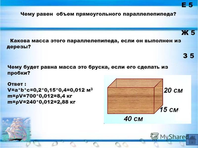 Е 5 Ж 5 Чему равен объем прямоугольного параллелепипеда? З 5 Ответ : V=a*b*c=0,2*0,15*0,4=0,012 м 3 m=ρV=700*0,012=8,4 кг m=ρV=240*0,012=2,88 кг Какова масса этого параллелепипеда, если он выполнен из дерезы? 7 Чему будет равна масса это бруска, если