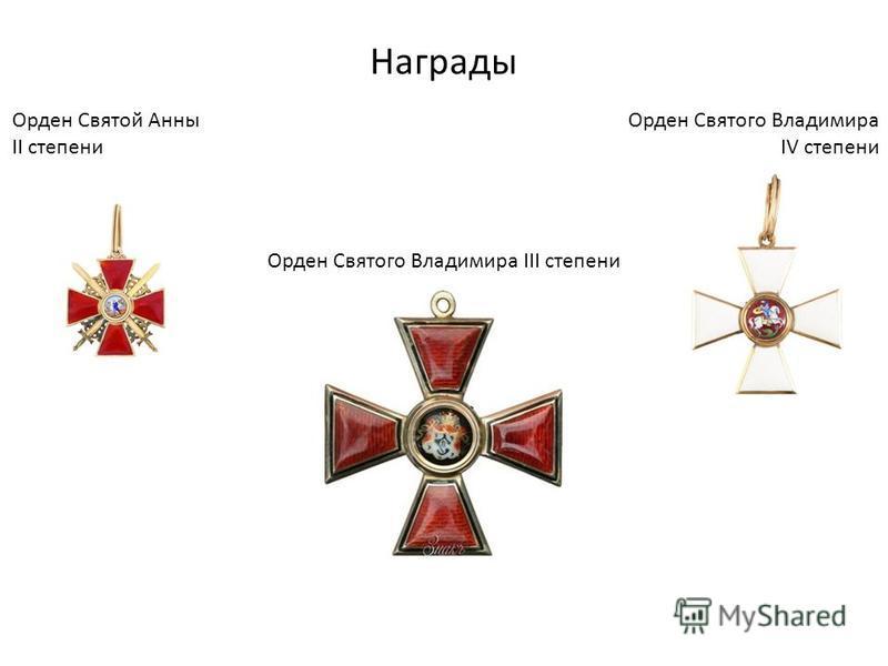 Награды Орден Святого Владимира IV степени Орден Святой Анны II степени Орден Святого Владимира III степени