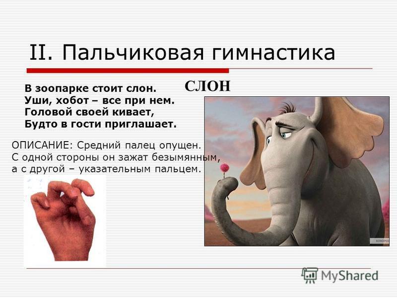 В зоопарке стоит слон. Уши, хобот – все при нем. Головой своей кивает, Будто в гости приглашает. ОПИСАНИЕ: Средний палец опущен. С одной стороны он зажат безымянным, а с другой – указательным пальцем. СЛОН