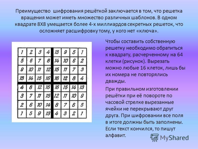 Преимущество шифрования решёткой заключается в том, что решетка вращения может иметь множество различных шаблонов. В одном квадрате 8Х8 умещается более 4-х миллиардов секретных решеток, что осложняет расшифровку тому, у кого нет «ключа». Чтобы состав