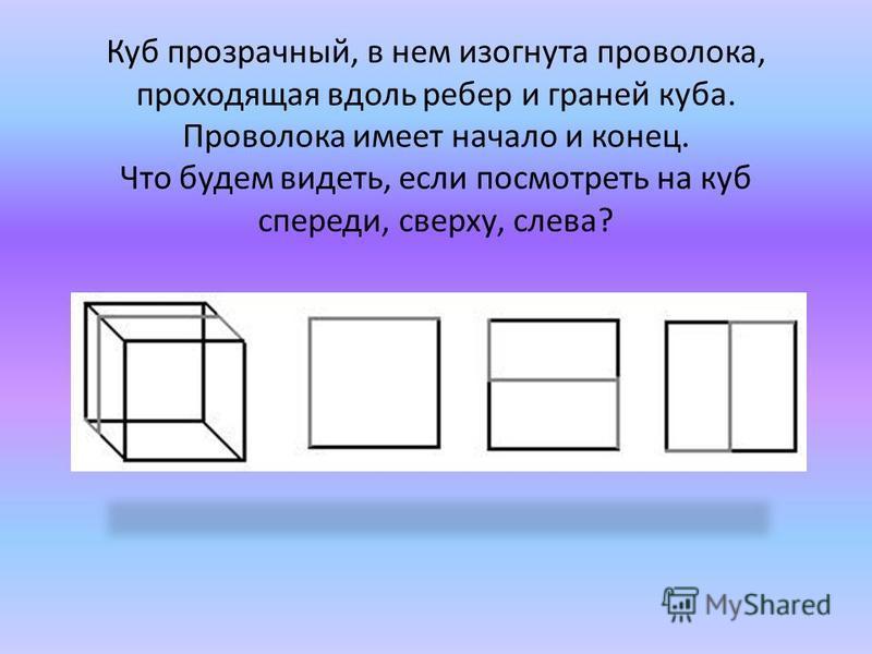 Куб прозрачный, в нем изогнута проволока, проходящая вдоль ребер и граней куба. Проволока имеет начало и конец. Что будем видеть, если посмотреть на куб спереди, сверху, слева?