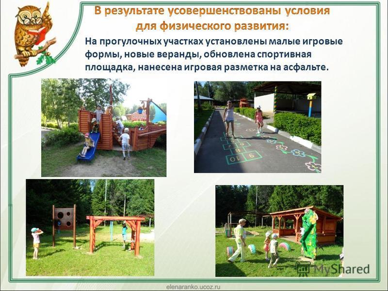 На прогулочных участках установлены малые игровые формы, новые веранды, обновлена спортивная площадка, нанесена игровая разметка на асфальте.