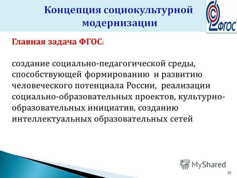 Главная задача ФГОС : создание социально-педагогической среды, способствующей формированию и развитию человеческого потенциала России, реализации социально-образовательных проектов, культурно- образовательных инициатив, созданию интеллектуальных обра