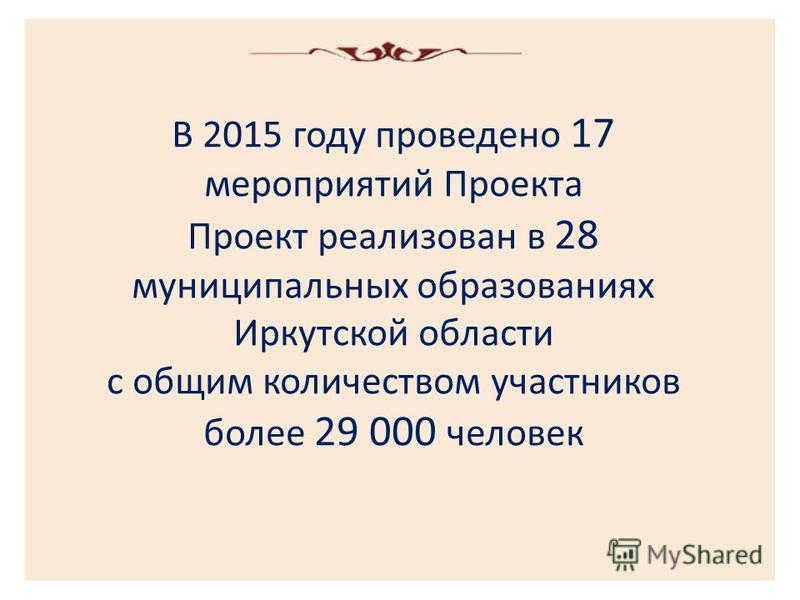 В 2015 году проведено 17 мероприятий Проекта Проект реализован в 28 муниципальных образованиях Иркутской области с общим количеством участников более 29 000 человек