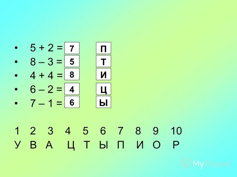5 + 2 = 8 – 3 = 4 + 4 = 6 – 2 = 7 – 1 = 1212 3 4 5 6 7 8 9 10 У В А Ц Т Ы П И О Р 7 5 8 4 6 П Т И Ц Ы