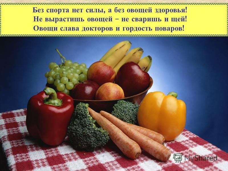 Без спорта нет силы, а без овощей здоровья ! Не вырастишь овощей – не сваришь и щей ! Овощи слава докторов и гордость поваров !