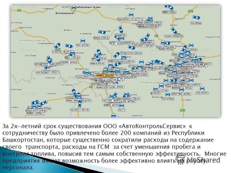За 2 х-летний срок существования ООО «Авто КонтрольСервис» к сотрудничеству было привлечено более 200 компаний из Республики Башкортостан, которые существенно сократили расходы на содержание своего транспорта, расходы на ГСМ за счет уменьшения пробег