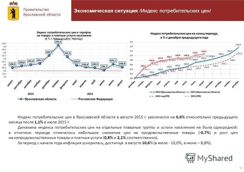 Правительство Ярославской области 14 Экономическая ситуация /Индекс потребительских цен/ Индекс потребительских цен в Ярославской области в августе 2015 г. увеличился на 0,6% относительно предыдущего месяца после 1,1% в июле 2015 г. Динамика индекса